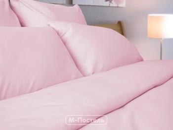 Постельное белье Однотонное постельное белье «Pink Satin» Евро за 3 350 руб