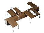 Столы и стулья Рабочая станция (6x140) с настольными экранами ДСП на 3-x опорных тумбах-купе за 156980.0 руб
