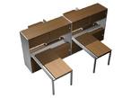Офисные столы Рабочая станция (4х140) с ProSystem на 2-опорных тумбах-купе с ProSystem левой/правой с надстройками-купе за 194365.0 руб