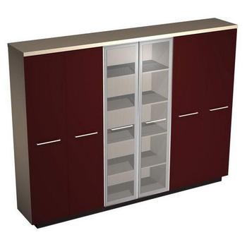 Мебель для персонала Шкаф комбинированный (закрытый- стекло- одежда), бордо за 170 872 руб