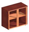 Офисная мебель Шкаф низкий со стеклянными дверцами обрамленными деревом за 21502.0 руб