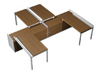 Столы и стулья Рабочая станция (4x120) с ProSystem на 2-x опорных тумбах-купе за 127943.0 руб