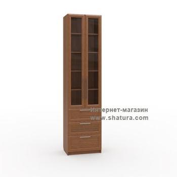 Гостиные Бирма Шкаф с 3мя ящиками стекло (орех) за 12 120 руб