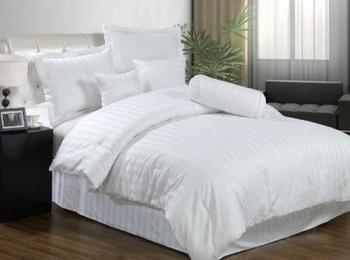 Постельное белье Белое постельное белье «Stripe white»  Семейный за 4 650 руб