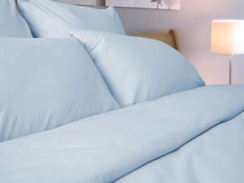 Постельное белье Однотонное постельное белье «Blue Satin» Семейный за 4 000 руб