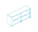Офисная мебель Стеллаж низкий, топ и боковины в шпонированной отделке за 183845.3 руб