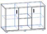 Офисная мебель Шкаф низкий со стеклянными дверьми за 14955.0 руб