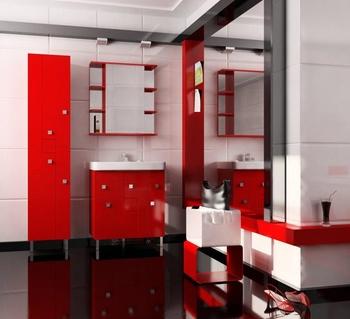 Шкафы КРОСС (70) Шкаф-зеркало навесной красный (Люкс) за 6 900 руб