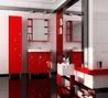 КРОСС (70) Шкаф-зеркало навесной красный (Люкс)