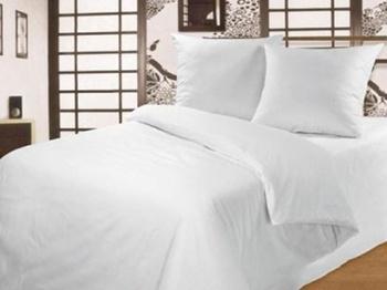 Постельное белье Белое постельное белье «White Percale»  1.5-спальный за 2 500 руб