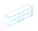 Офисная мебель Стеллаж низкий, топ и боковины в шпонированной отделке за 214156.0 руб
