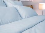 Однотонное постельное белье «Blue Satin» Евро за 3350.0 руб