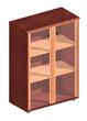Офисная мебель Шкаф средний со стеклянными дверцами обрамленными деревом за 17851.0 руб