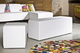 Мягкая мебель Табурет Quadro 2 белая кожа KARE + Studio Divani за 44900.0 руб