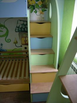 Детские кровати Кровать двухъярусная с лестницей за 68 020 руб