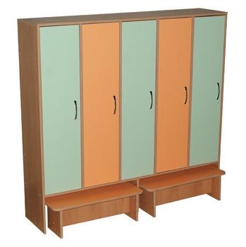 Корпусная мебель Шкаф для одежды пятисекционный с двумя выдвижными скамейками за 11 349 руб